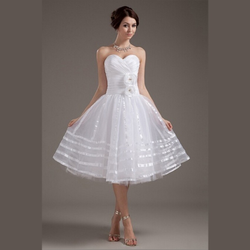 2015 White Organza Short Wedding Dresses Elegant