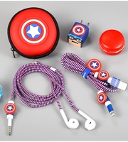 The Avengers Cartoon USB Cable Earphone Protector Set With Earphone Box Cable Winder Stickers Spiral Cord