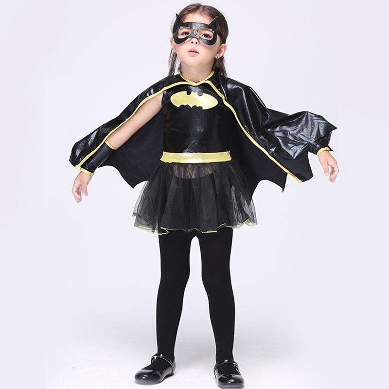 2019 Hot Children Batman Halloween Cosplay Costume Kids Fancy Batman Dress Girl Costume Suitable For 95-135CM