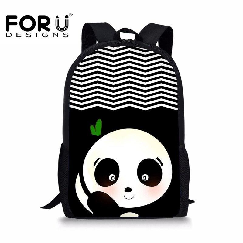 FORUDESIGNS Cute Panda Print Backpack for Girls Boys,Teenage Children Large Book Back Pack,3D Kids School Bagpack Bag mochila