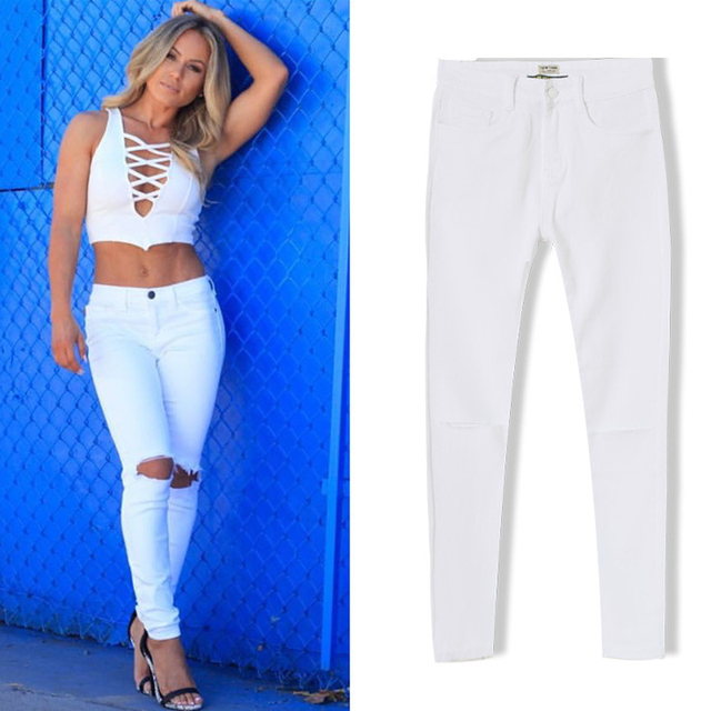 Aliexpress.com : Buy Olrain Women White High Waist Skinny Jeans ...
