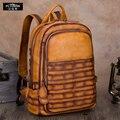 Винтажная сумка ручной работы для мужчин и женщин  рюкзак из коровьей кожи  вместительная сумка для ноутбука  рюкзак для отдыха и путешестви...