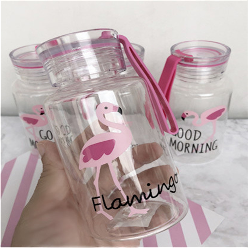 BXLYY Flamingo Plastic Water Bottle 300ml Travel Boarding Portable Leakproof DIY Wedding Party Decor Gift Bottle for Water.8z