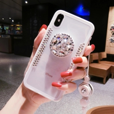 Diamond Transparent Phone Samsung S6 S7 Edge S8 S9 Plus Note 5 8 9 Blingbling Phone Cover With Airbag Bracket