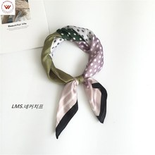 Winter Scarf New Arrival Real Silk Hijab 2019 Spring And Autumn Korea Small Wave Point Square Female Wild Decoration Hair