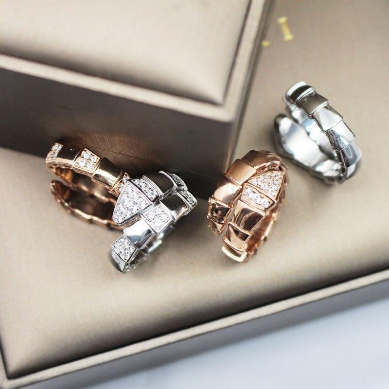 2019 nouveauté marque de mode Designer serpent anneau réel 925 en argent Sterling AAA étincelant zircone femmes anneau