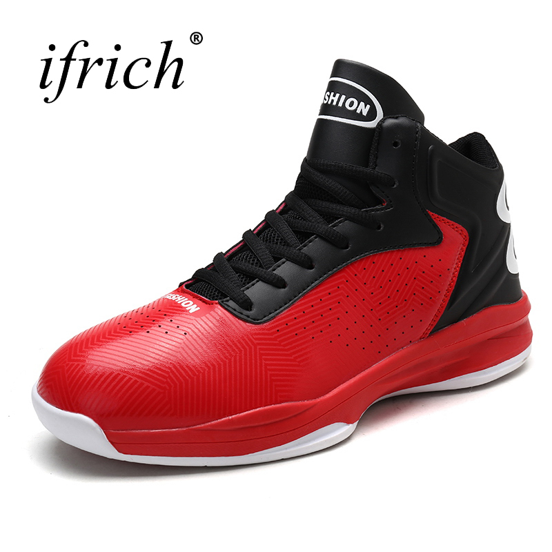 2017 New Basketball Shoes Men Leather Basketball Sneakers Lace Up Man High Top Gym Train ...