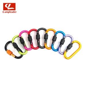Image 5 - 8cm אלומיניום סגסוגת אביב Carabiner D טבעת מפתח שרשרת קליפ רב צבע קמפינג Keyring הצמד וו חיצוני נסיעות ערכת Quickdraws