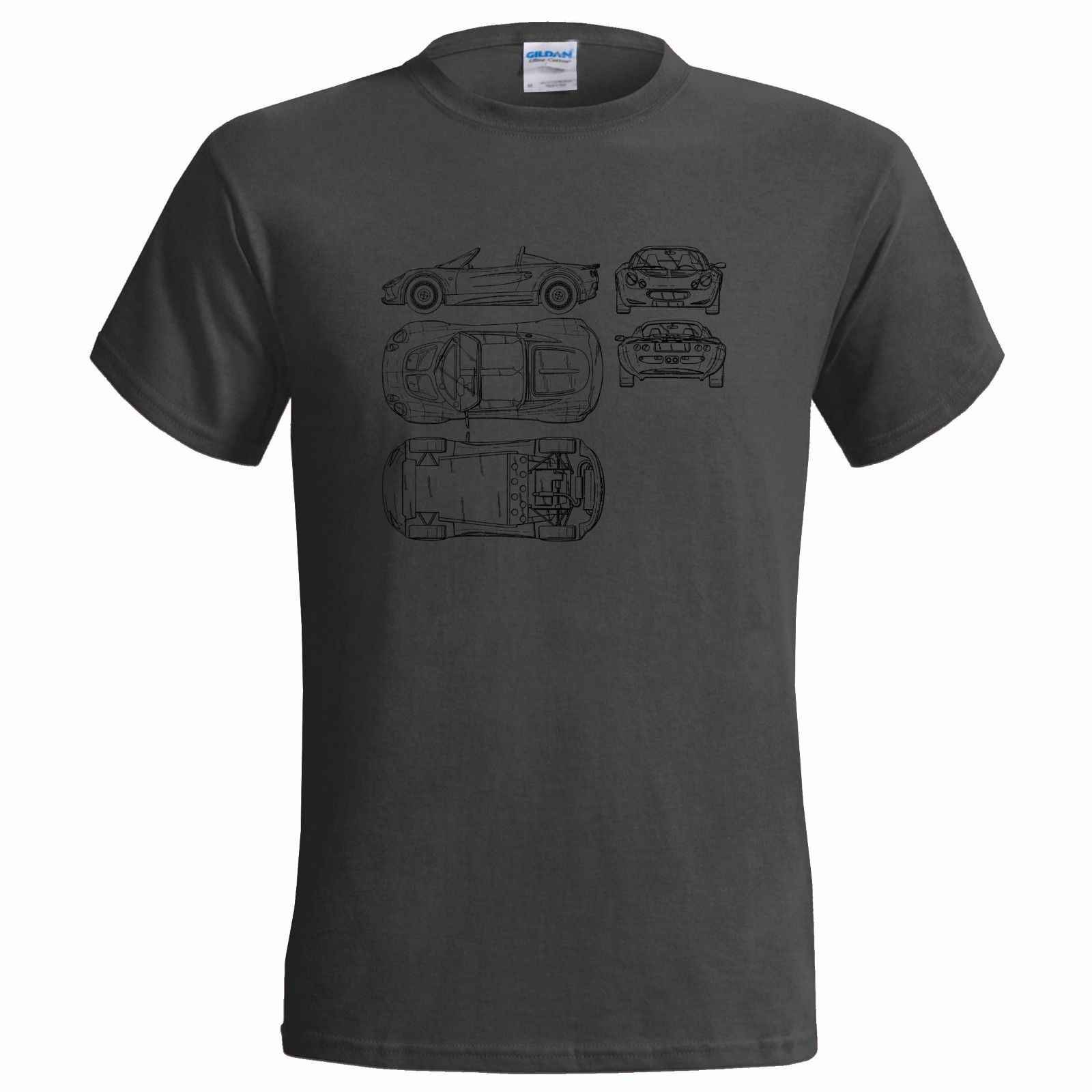 Unofficial Blueprint of LOTUS ELISE MENS T SHIRT CLASSIC LUXURY CAR SPORTS Cheap wholesale tees,100% Cotton For Man
