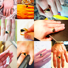 Classic Gold-color Rhinestone Men Ring Black Enamel Male Finger Rings