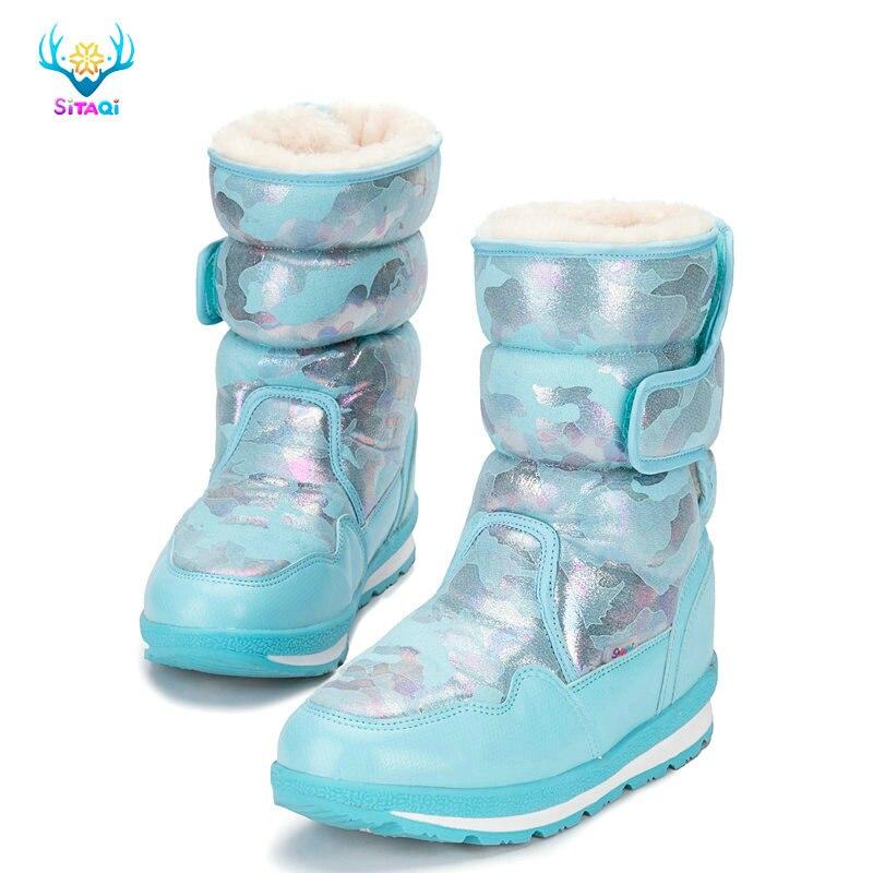 Очень красивые зимние сапоги для детей от мини размера до больших размеров; большие размеры 41; толстый теплый мех; водостойкий верх; популярная бесплатная доставка
