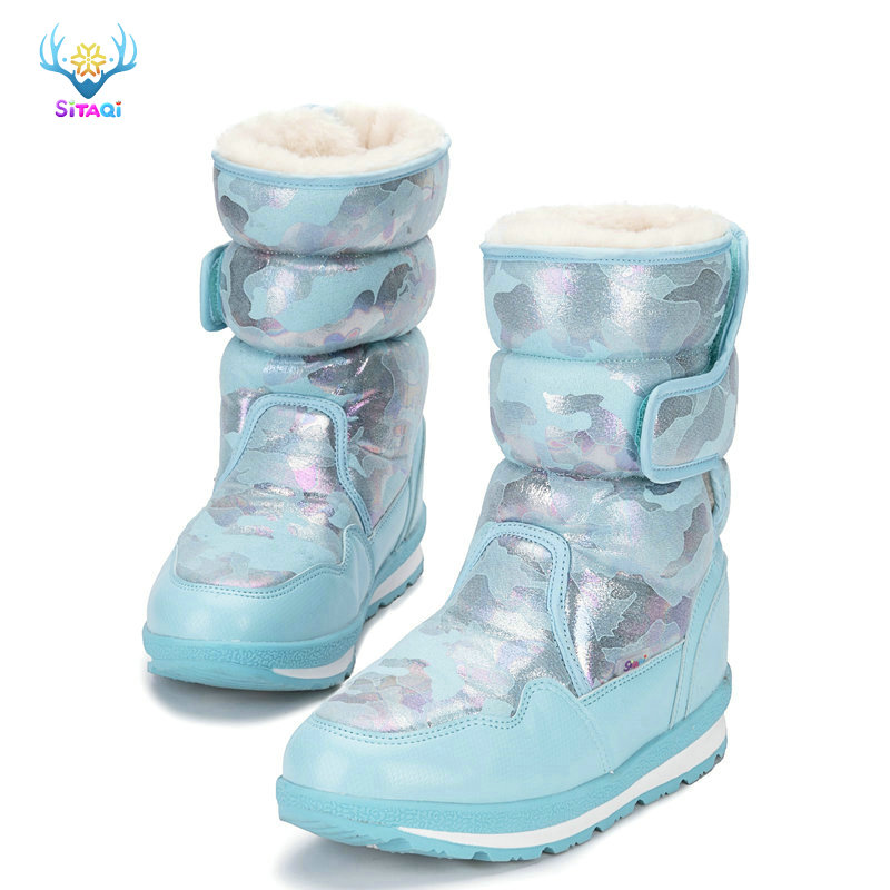 So Beautiful Winter Boots For Kids From Mini Size To Big Plus 41 Thick Warm Fur Water-resistance Upper Popular Free Shipping To