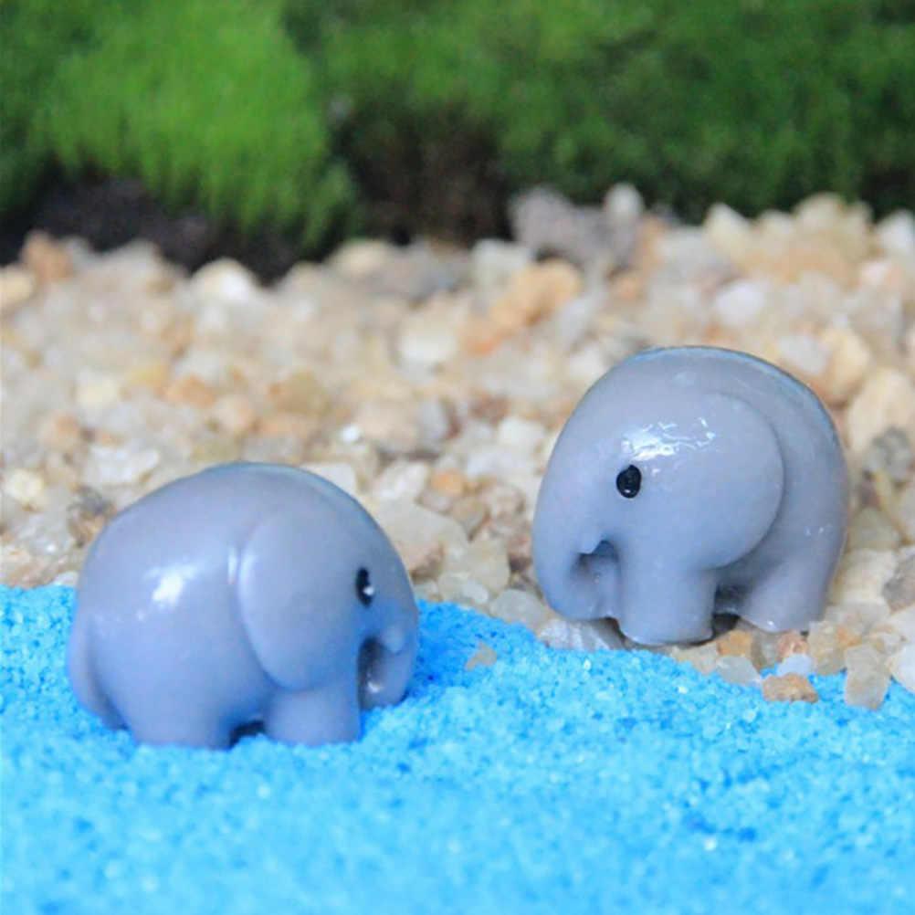 Lindo elefante Artificial Hada jardín Kawaii miniaturas gnomos terrarios con musgo artesanía de resina figuritas para la decoración del jardín del hogar