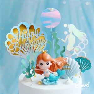 Image 3 - Taç Mermaid dekor balık kuyruğu kabuk lazer gümüş kek Topper mektubu dekorasyon için çocuk doğum günü partisi düğün malzemeleri sevimli hediyeler