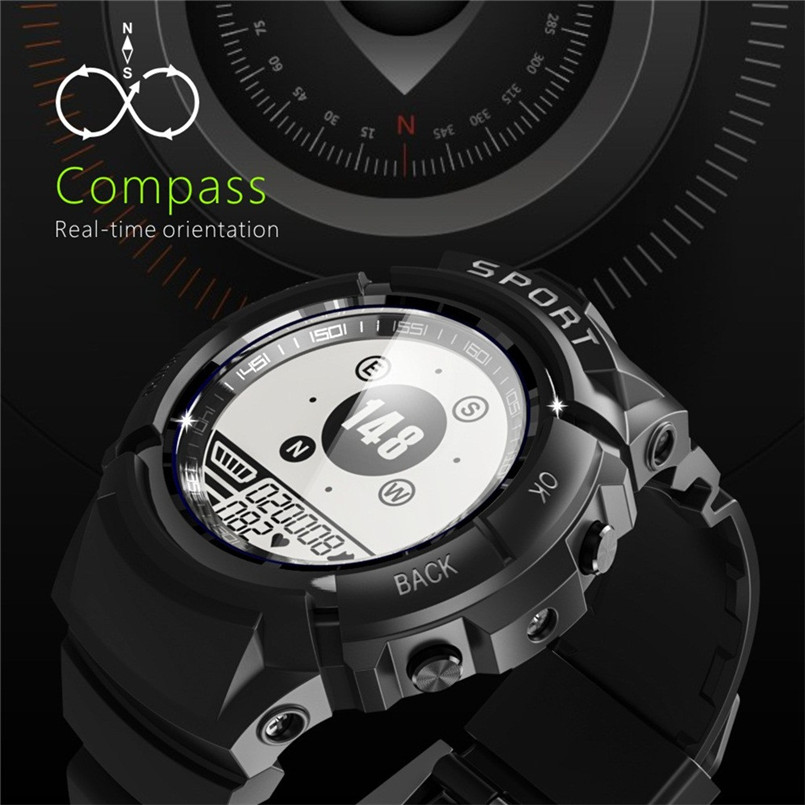 S816 Men Sports Smart Watch IP68 Waterproof Fitness Tracker Dynamic Heart Rate Compass Stopwatch Alarm Clock