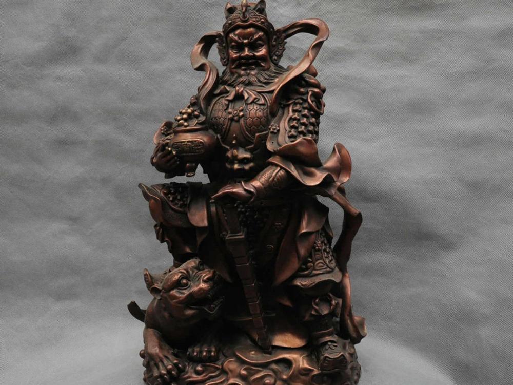 18'' China Bronze Weichi Gong Guangong Hold Treasure Bowl Ride Tiger Statue|statue|statue bronze|statue china - title=