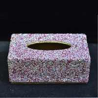 Sparkly Mode Auto Tissue Box met Bling bling Kristallen Roze Wit goud Handdoek Papier Doos Beschermhoes voor Home Auto Office gebruik