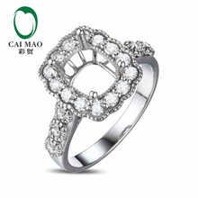 CaiMao Cushion cut Semi Mount Ring Settings & 0.73ct Diamond 18k White Gold Gemstone Engagement Ring Fine Jewelry
