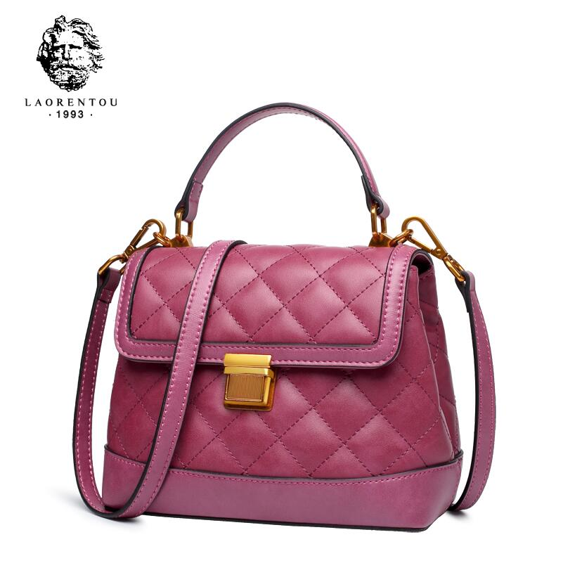 LAORENTOU Classic small fragrance rhombic bag female 2018 new shoulder bag Cowhide lady messenger bag female