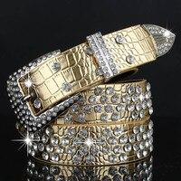 New Fashion Rhinestones Womens Belts Alligator Female Strap Alloy Buckle Belt Waistband Designer Leather Waist Belt