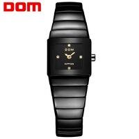 Dom 2017 новый оригинальный мода luxury brand женщины корейский бизнес часы женский водонепроницаемый 3bar керамические кварцевые женщины наручные ч