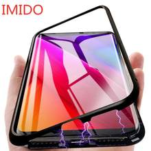 Metal magnetic adsorption case for Xiaomi 9 8 SE mi 8 Lite F1 Redmi 7 6A 6X Note 7 6 5 pro tempered glass case with back magnet(China)