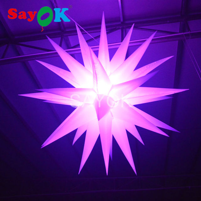 16 Colors Changing LED Night Club Ceiling Decoration Inflatable Stars Inflatable Hanging Decoration for Party Wedding Stage