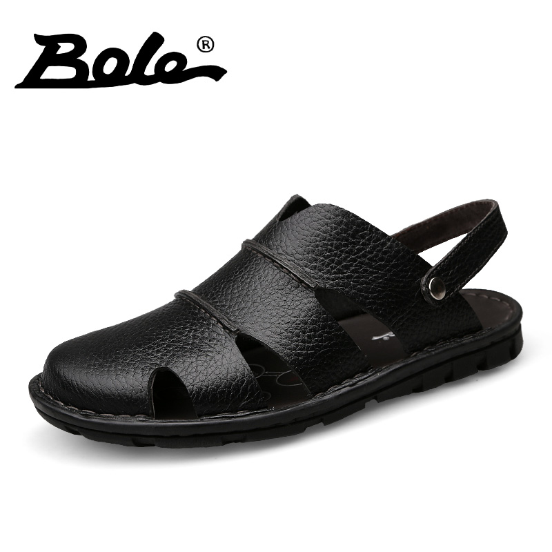 BOLE Men Leather Sandals Summer New Design Superstar Genuine Leather Men Sandals Fashion Walking Beach Sandals