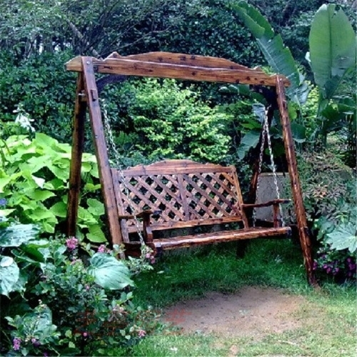 Indoor Outdoor Wood Swing Rocking Chair Rustic Hanging Chair Wild