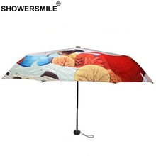 SHOWERSMILE Ladies Painting Umbrella Art Print Sliver Coating Uv Protection Parasol Foldable Painted Sun Rain Travel