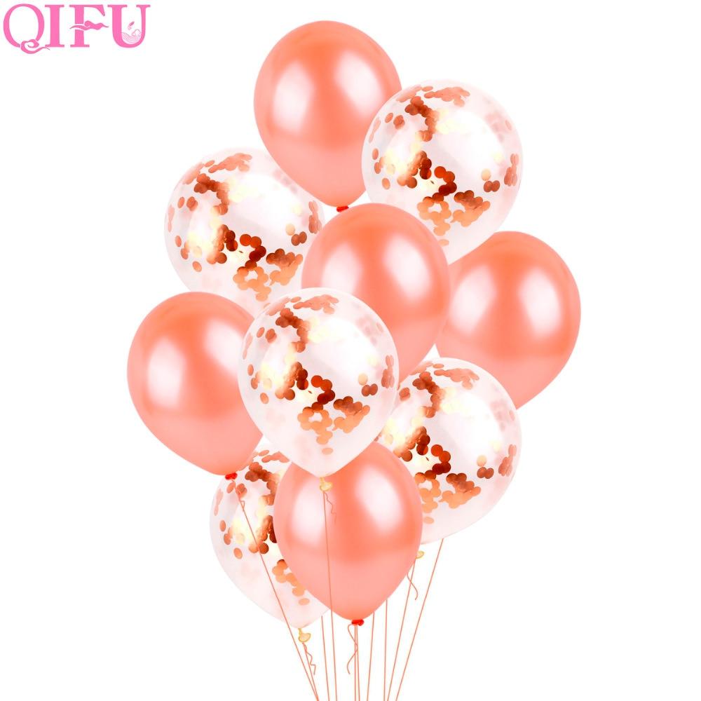 QIFU 10st 12-tals konfetti Ballong Rose Guld Latex Ballonger - Semester och fester - Foto 2