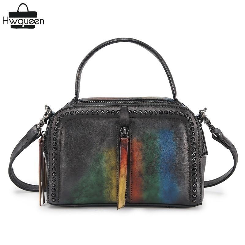 все цены на Vintage Color-mixing Design Girls Small Flap Bag Genuine Cow Leather Women's Studs Handbag Retro Cowhide Ladies Rivets Mini Bag онлайн