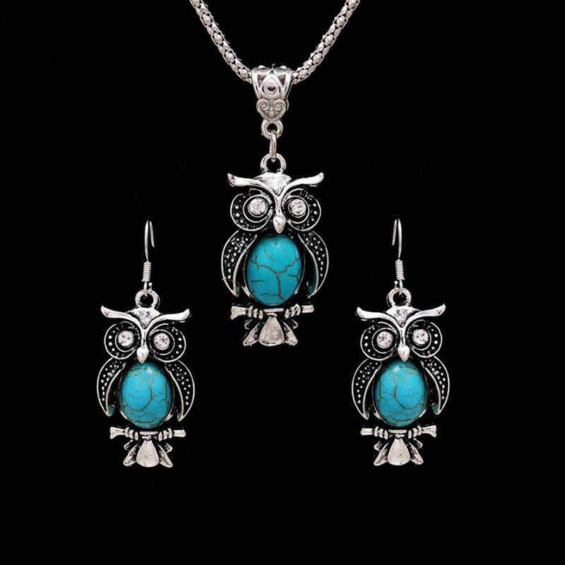 Modeschmuck Sets Tibetischen Blau Stein Halskette & Anhänger Silber Überzog Wassertropfen Shaped Ohrstecker Frauen Kragen
