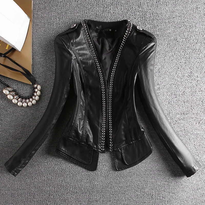 2019 spring autumn   leather   coat women red new slim PU   leather   coat motorcycle   leather   jacket women female outerwear coats black