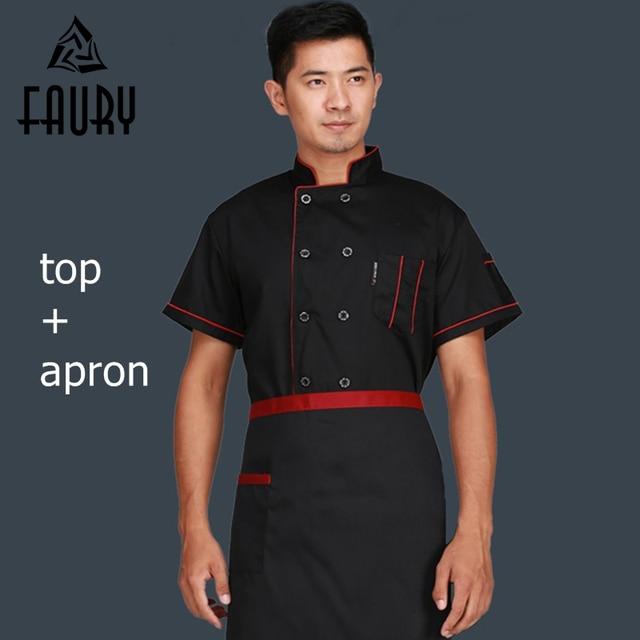 b08d2c9a457 Unisex Men Black Short Long Sleeves Chef Jacket Apron Long Sleeves Waiters  Uniforms Restaurant Food Service Work Wear