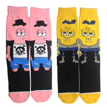 K144 1 Pair Cute Print Socks Novelty Cartoon Men Women Sock Comfort Stitching Cotton Crew