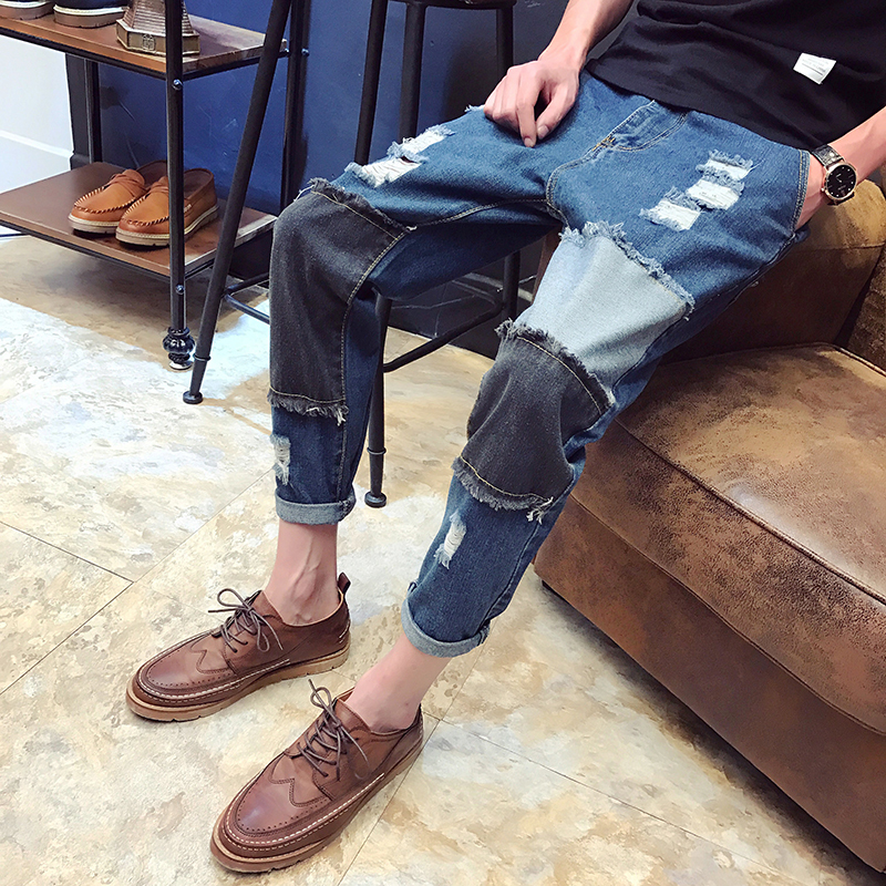 2017 Autumn And Winter New Mens Jeans Holes Spliced Patching Style Casual Sweatpants Classic Special Rousers Youth Favourite