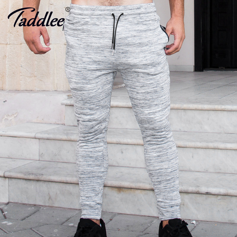 Taddlee Brand Long Pants Sweetpants Jogger Men's Ankle Trousers Skinny Bottoms Active Cotton