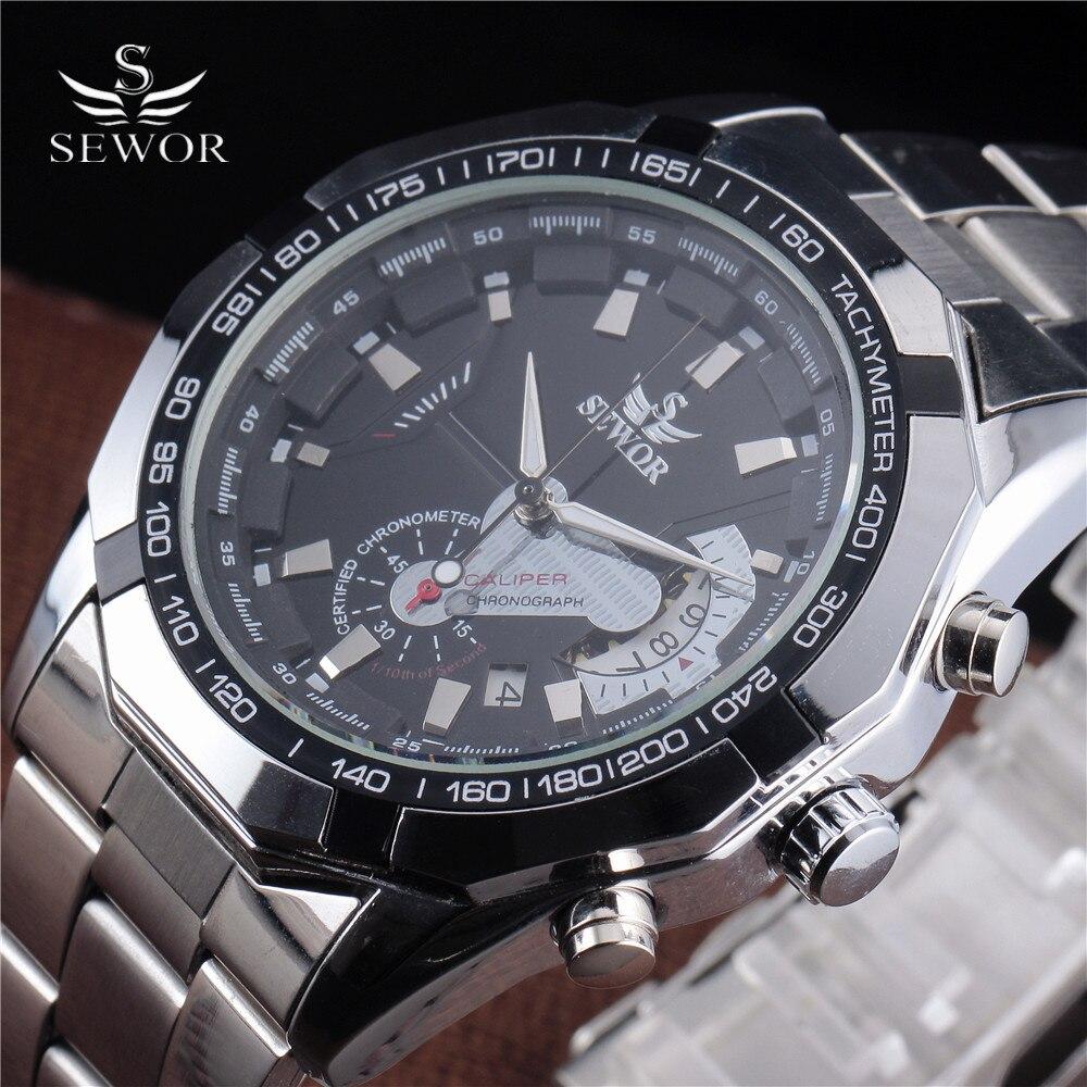 SEWOR font b Men b font Luxury Stainless Steel Clock Classic Stylish Design Auto Date Automatic