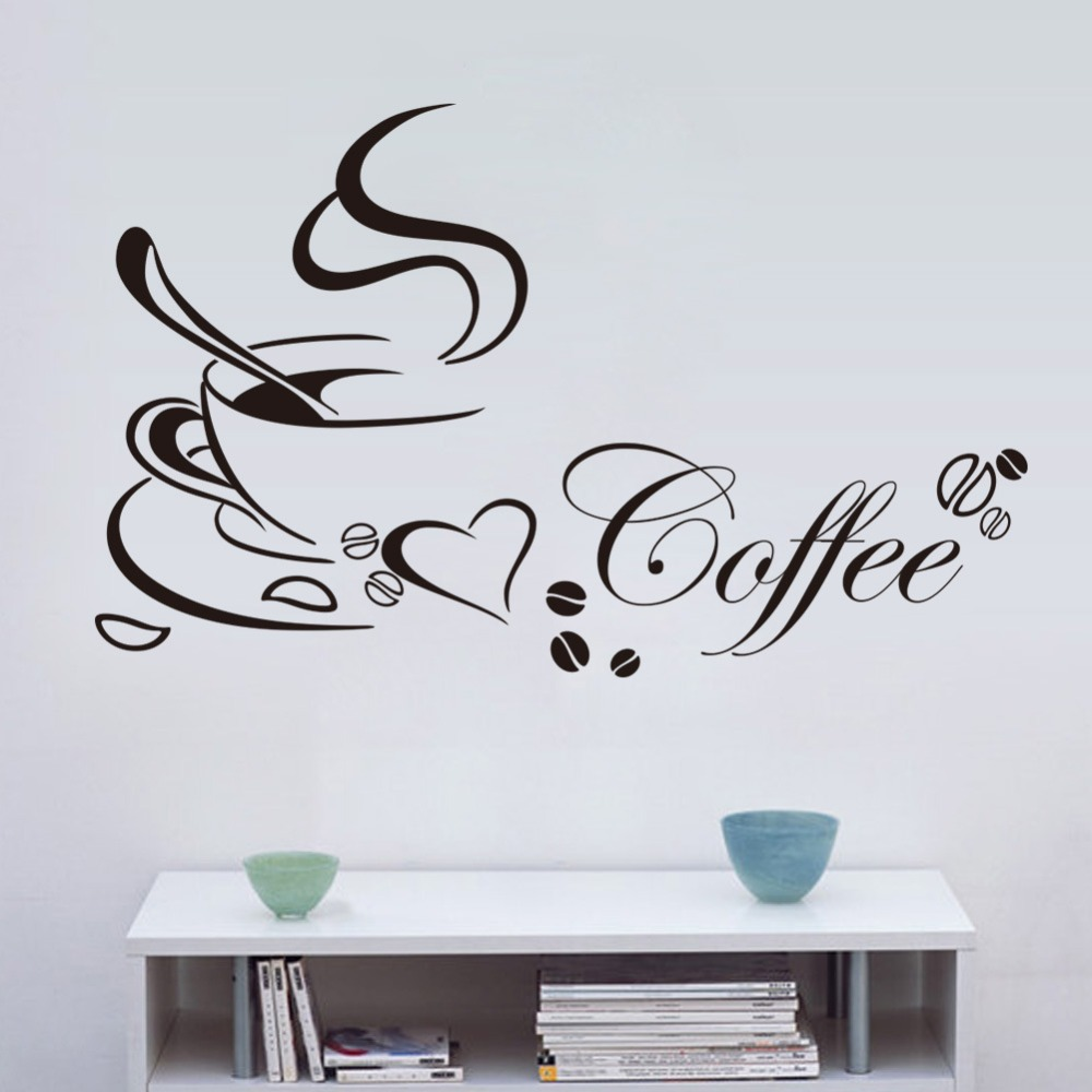 Lamp light wall art decor removable mural vinyl decal sticker purple - Online Shop New Cafe Wall Sticker Black Coffee Cup Quote Wall Decal Diy Removable Creative Vinyl Kitchen Wall Art Stickers Home Decor Aliexpress