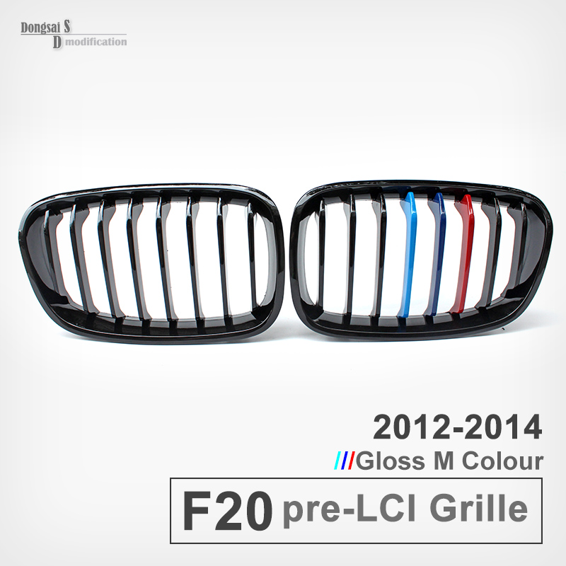 F20 pre lci 2012 - 2014 Glossy M color front kidney fence grills grille for BMW 1 series vehicles 2012 2013 2014 118i car grills e39 gloss black m color front kidney grilles double line grills for bmw e39 m5 1997 2003 c 5