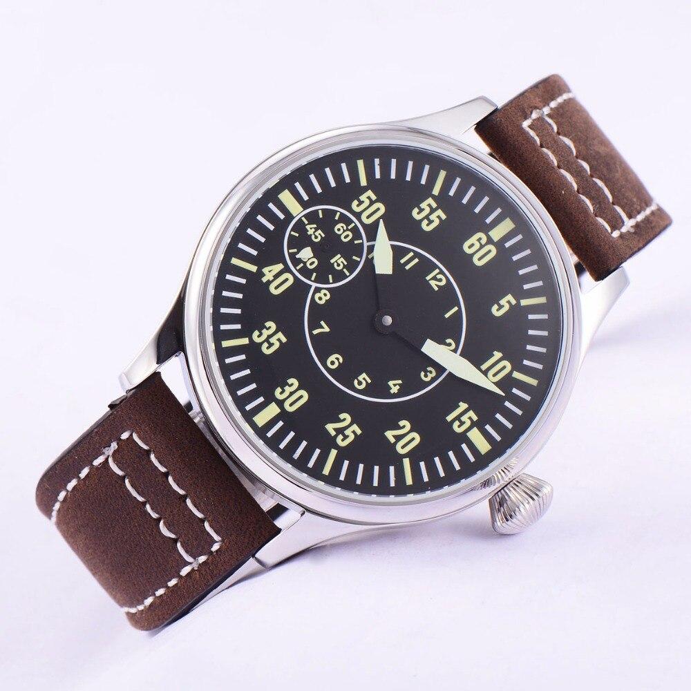 Image 3 - Sterile 44mm Luminous 6497 Hand Winding ST3600 Movement Manual  Machinery Watch men Sapphire Glass 316L SS mechanical  wristwatcheMechanical Watches