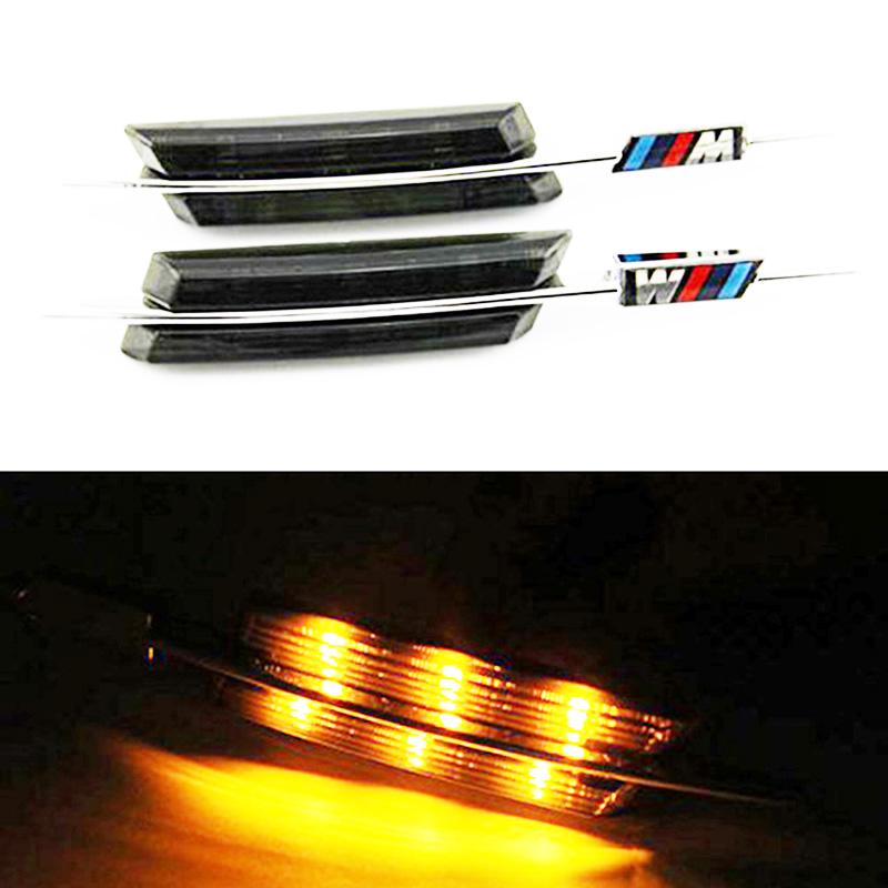 Prix pour HOPSTYLING 2x Jaune LED clignotants éclairage de la voiture côté-style Pour BMW E46 '02-'05 4D5D led side marker voiture accessoires avec M logo