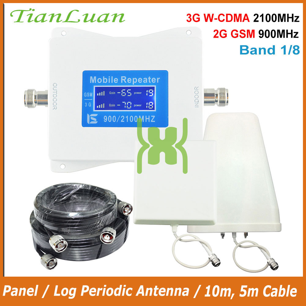 TianLuan Mini 2G 3G Repeater GSM 900MHz WCDMA 2100MHz Cell Mobile Phone GSM 900 W-CDMA 2100 Signal Booster Amplifier Band 1, 8