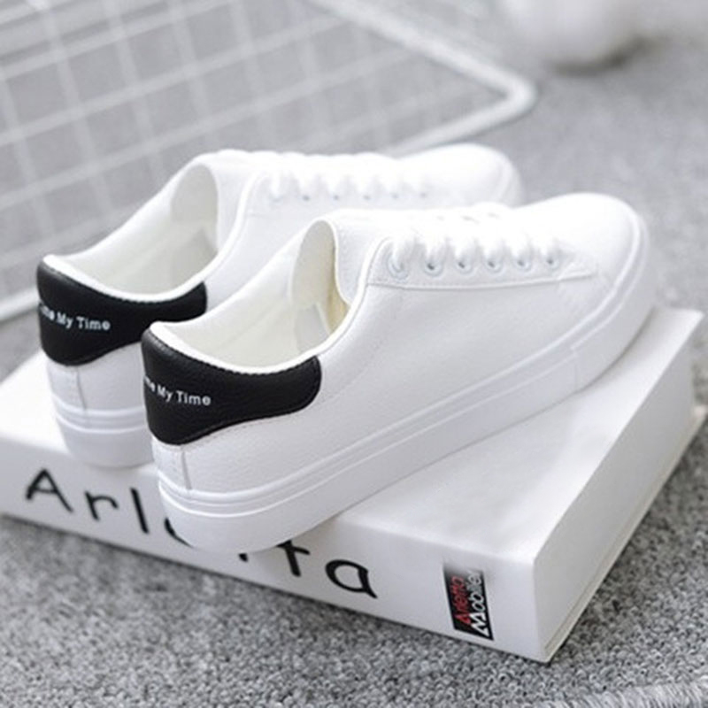 New Spring Shoes Woman Sneakers Tenis Feminino Lace-Up White Shoes Woman PU Leather Solid Color Female Sneakers Women Shoes