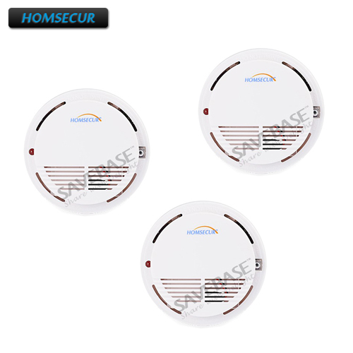 HOMSECUR A8 HOMSECUR Wireless Smoke/Fire Alarm Detector 3pcs For Our 433MHz Alarm System wireless smoke fire detector for wireless for touch keypad panel wifi gsm home security burglar voice alarm system