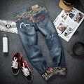 Primavera otoño jóvenes gran patio jeans gran tamaño del carácter de código de impresión pantalones vaqueros hip hop personalidad de alta calidad