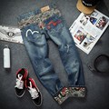 spring autumn youth big yard jeans big size of the code character printing jeans hip hop personality high quality pants