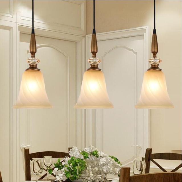 American Mini Bar Podium Chandelier Simple European Vintage Restaurant Dining Table 3 Heads Bedroom Study Lamp E27