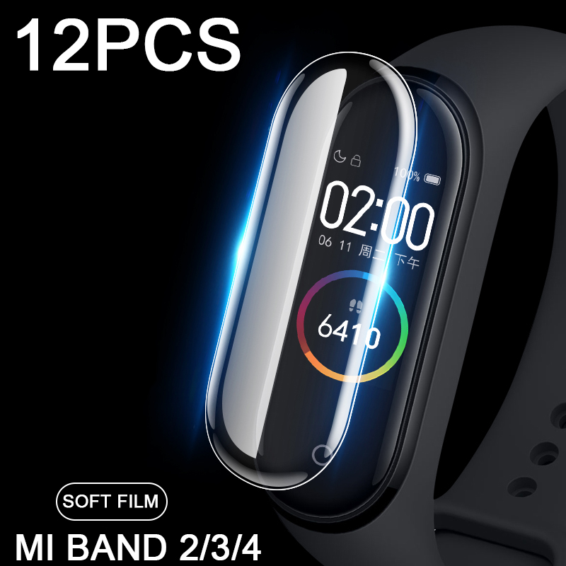 12pcs/lot Protective Film For Xiaomi Mi Band 4 Screen Protector On Xiomi Band 3 2 Band2 Band3 Band4 M4 Can Wholesale Not Glass